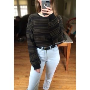 🍃 Vtg 90's Olive Striped Cozy Oversized Sweater